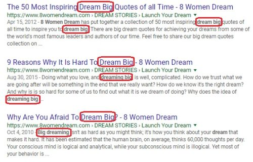 how keywords in titles appear in search 8WomenDream