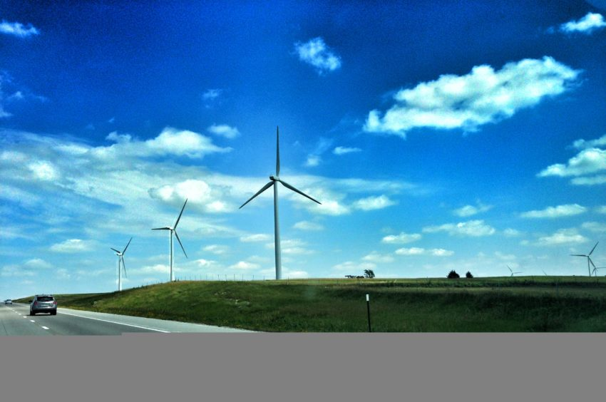 Traveling through Kansas. It took FOR EVER but seeing thousands of these wind turbines was so cool!