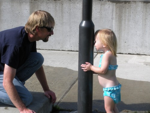 A Father's Day Love Story: Daddy playing hide and seek behind a pole