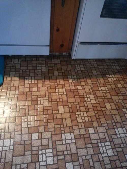 "This old house: I've actually seen these floors on the ""before"" part of an HGTV makeover show!"