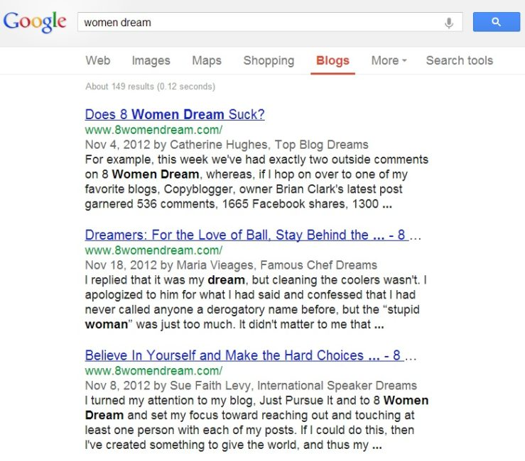The Secret to Blogging Success: 8 women dream in search