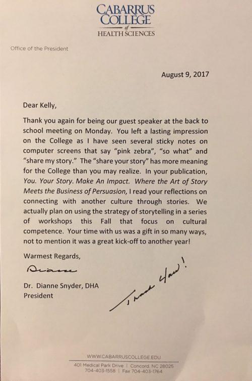 Thank you letter testimonial