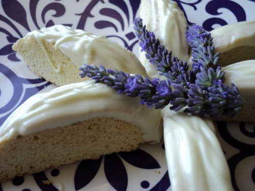 Becoming a Great Home Cook: Lemon and lavender scented biscotti with white chocolate and lemon icing
