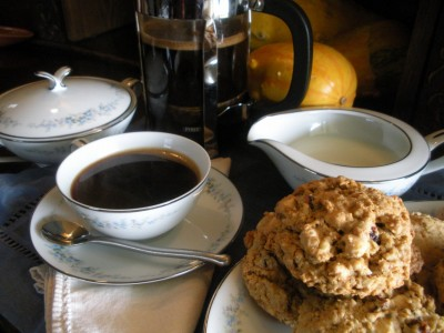 Fallnut Cookies with French Press Coffee