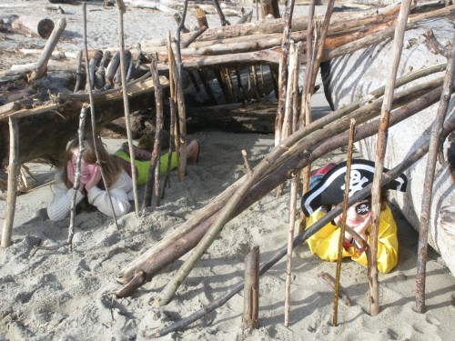 Driftwood Sand Forts on My American Dream Birthday