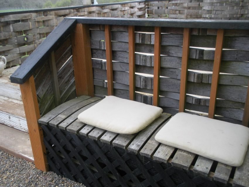 Dream Spring Living: Barrel stave bench and garden deck