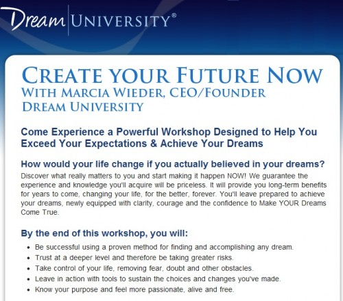 Create Your Future Now Workshop by Marcia Wieder