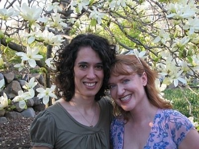 Finding Happiness in Lifelong Friendships - Lisa with Lifelong friends Maria under a Cherry Blossom tree