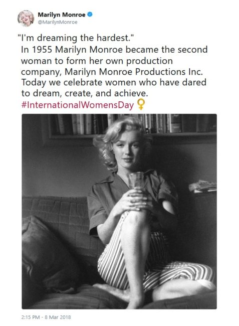 International Women's Day Tweets for Women Dreamers: MarilynMonroe