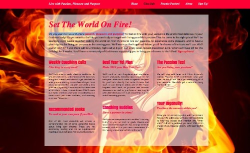 World on Fire: Living with Passion, Pleasure and Purpose Workshop
