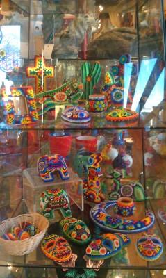 Colorful Native American bead art.