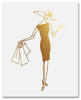 Shopper Lady Chic Girly Fashion Decor Unframed Wall Art