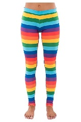 Striped Rainbow Leggings - Neon Rainbow Tights for Women