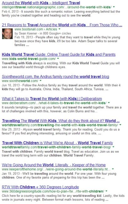 Find your niche like Travel the world with kids google search