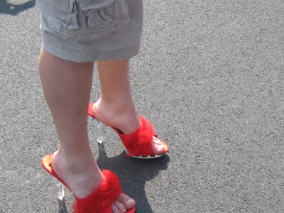 Walk A Mile in Her Shoes Red Mules
