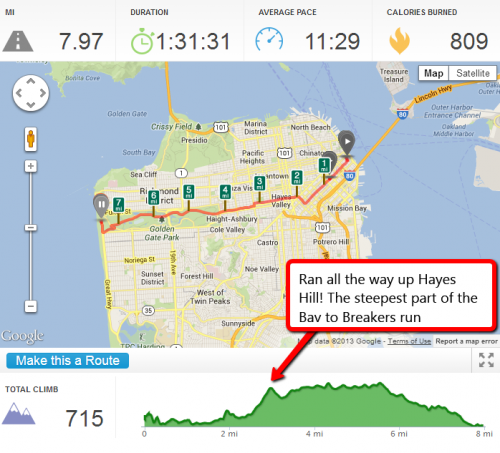 Bay to Breakers Hayes Street Hill peak