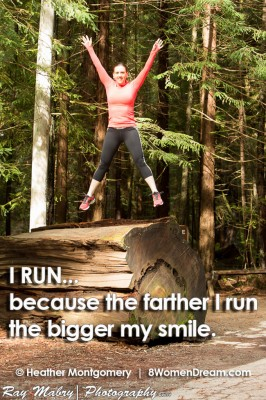 I RUN... because the farther I run, the bigger my smile fitness quote