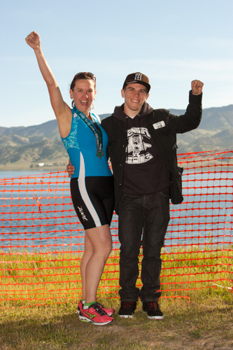 heather sprint tri support - my son Jake joins me at the race