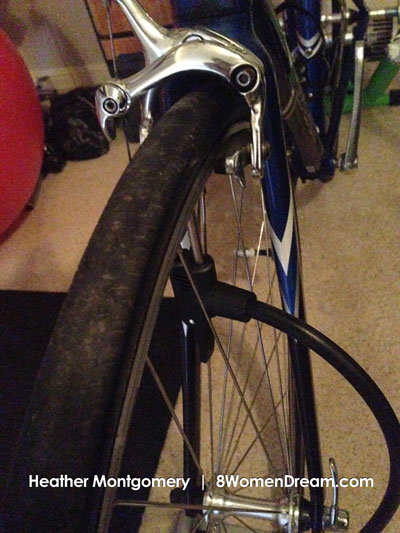 Heather triathlon brick training - check tire pressure