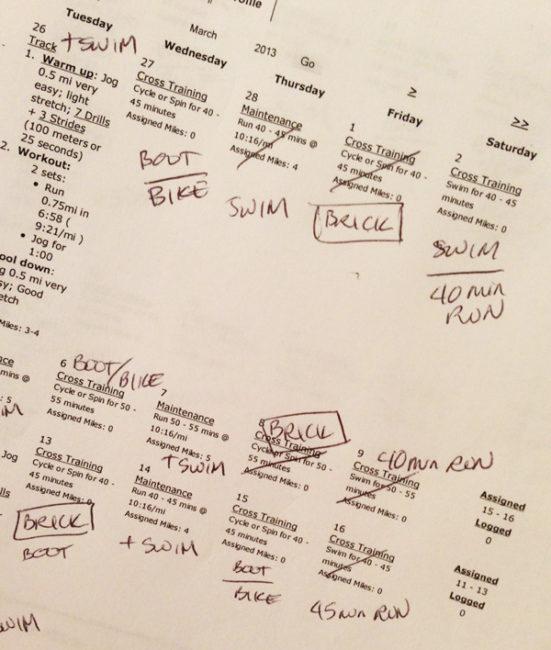 Heather's Triathlon Training Schedule