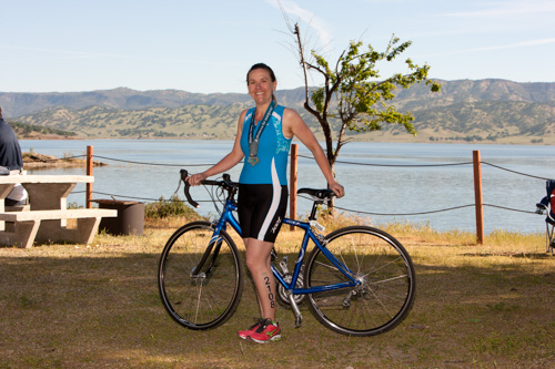 heather with bike after first sprint tri