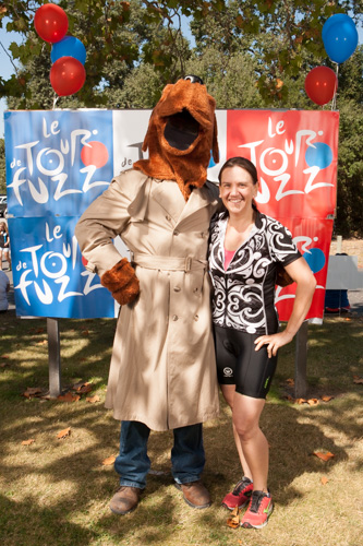 Heather with McGruff the Crime Dog, 2013 Le Tour de Fuzz