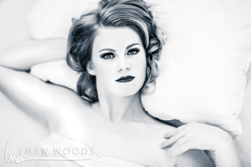 Iman Woods Pinup Therapy - Using natural light to showcase natural beauty. Lit from large windows camera right.