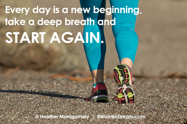Motivational fitness photo quotes - start again
