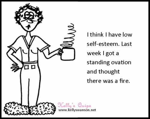 motivational keynote speaker and not very talented cartoonist Kelly Swanson original self esteem cartoon