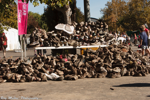 The aftermath - Muddy shoe pile at Dirty Girl 2012