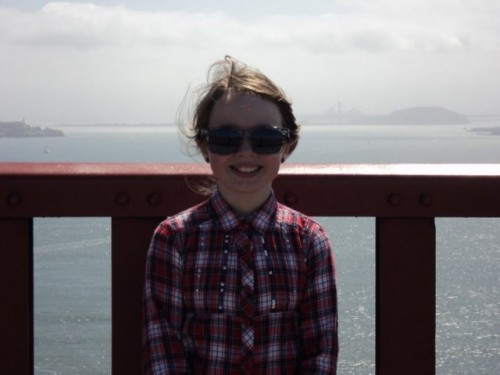 Wild American Dream Family Vacation: My daughter crossing the Golden Gate bridge