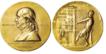 The iconic Pulitzer Prize Gold Medal