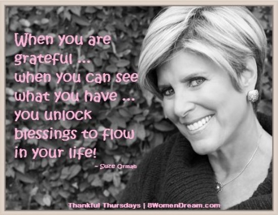 Can Practicing Gratitude Make you Rich? Suze Orman quote on gratitude