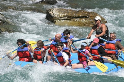 white water rafting shot